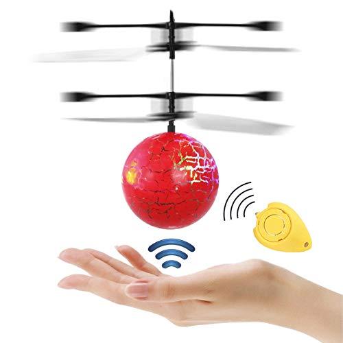 RC Fliegender Ball Spielzeug, Infrarot-Induktions-Hubschrauber, Drohne mit bunt leuchtendem LED-Licht und Fernbedienung für Kinder, Geschenke für Jungen und Mädchen, Indoor-und Outdoor-Spiele (rot)