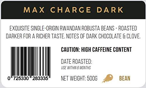 Maximum Charge Dark Strong Coffee: Lab Certified World's Most Caffeinated Coffee | High Caffeine Coffee from Robusta Coffee Beans | Dark Roast | 500g