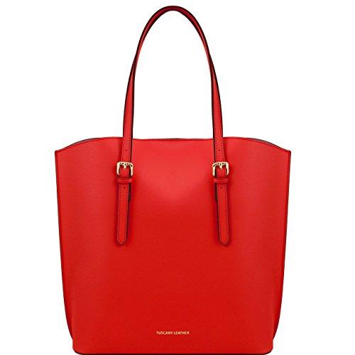 Tuscany Leather Sibilla - Sac shopping en cuir Ruga Noir Sacs à bandoulière en cuir Rouge