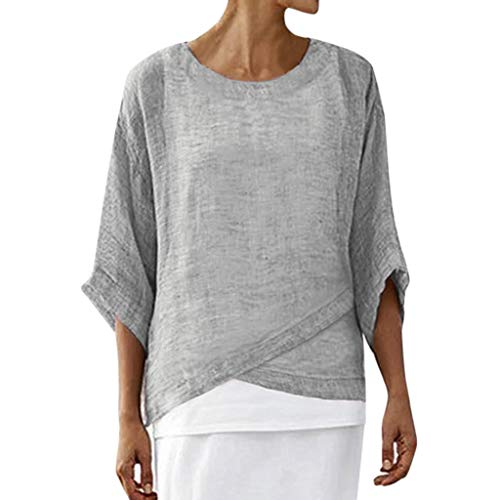 3/4 Puff Ärmel Pullover (VJGOAL Tops Damen Bluse Elegant Sommer Große Größen Einfarbig Freizeit 3/4 Ärmel Unregelmäßig Lose T Shirt)