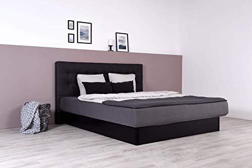 Wasserbett mit schwarzem geschlossenem Sockel + Wandpaneel Nuevo (180 x 200 cm, Starke Beruhigung)