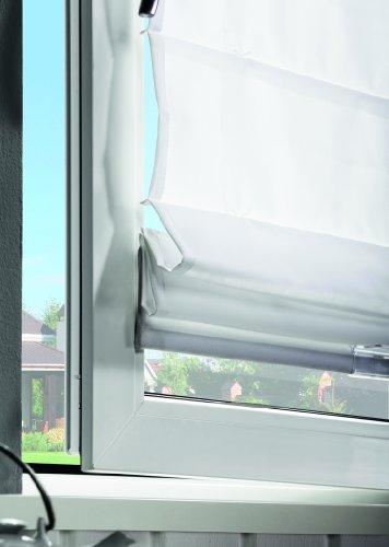 Klemmfix Raffrollo / Faltrollo FOLD mit Plissee Technik, frei verschiebbar, Farbe: grau, Größe: 60x130cm, für Deckenmontage, Wandmontage, Montage ohne bohren - mydeco