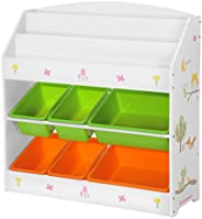 SONGMCIS Toy and Book Organiser for Children, with 3-Tier Bookshelf and 6 Removable Bins, Wooden Storage Unit