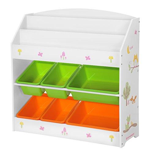 Songmics scaffale per libri e giocattoli per bambini, libreria a 3 piani e 6 cesti rimovibili, mobile di legno e scaffale per stanza dei giochi, cameretta, asilo, beige gkr44wtv1