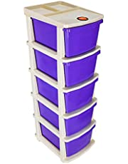 Bathla Stomo 5 - Extra Large Multi-Purpose Modular Drawer Storage System for Home & Office with Trolley Wheels & Anti-Slip Shoes