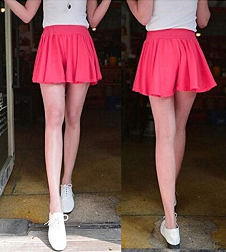 ARROYO New Summer Culottes Large Size Women Relaxed Casual Shorts and Skirts (Rose red)