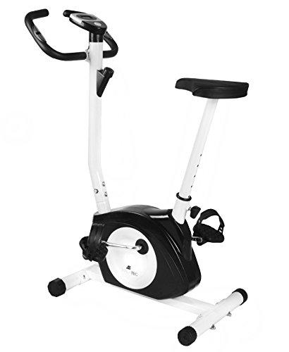 MALATEC Heimtrainer Magnetisch Fahrrad Fahrradtrainer Ergometer Fitnessgerät Stepper Fahrrad Stationäres Advanced mit LCD-Display Fitness-Fahrrad Übung-weiß/schwarz 5688, Farbe:Weiß