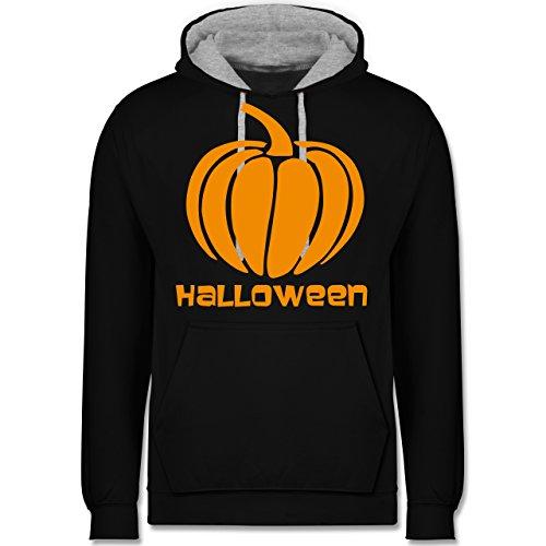 Shirtracer Halloween - Kürbis - 4XL - Schwarz/Grau meliert - JH003 - Kontrast Hoodie
