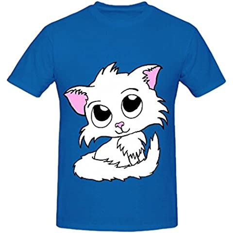 Cute Kitty White Cat Mens Crew Neck Graphic Tee Shirts XXXX-L