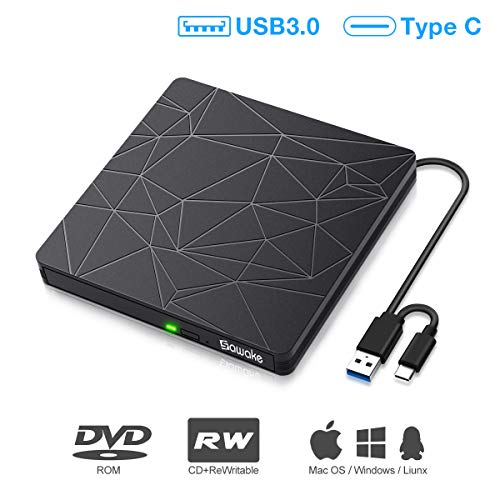 Externes DVD Laufwerk, SAWAKE CD Brenner USB 3.0& USB C, DVD-CD Player CD Laufwerk für Laptop, Desktop, Mac, MacBook, Win 10/8/7/XP, Linux, MacOS, Vista7/8, Plug&Play