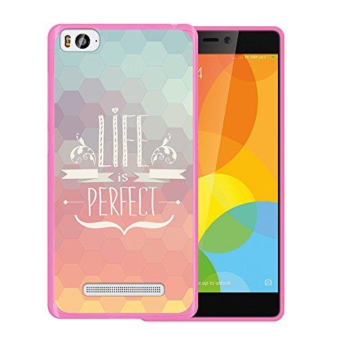 Xiaomi Mi 4c Hülle, WoowCase Handyhülle Silikon für [ Xiaomi Mi 4c ] Satz - Life is perfect Handytasche Handy Cover Case Schutzhülle Flexible TPU - Rosa