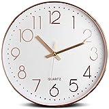 Tebery Pendule Murale 30cm/12' Silencieuse Moderne Quartz Chiffres Romains Horloge Murale Décorative pour Salon, Chambre à Coucher, Cuisine (Batterie Non Incluse) Rose