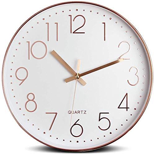 """Tebery Pendule Murale 30cm/12"""" Silencieuse Moderne Quartz Chiffres Romains Horloge Murale Décorative pour Salon, Chambre à Coucher, Cuisine (Batterie Non Incluse) Rose"""