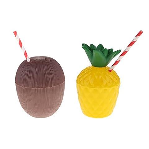 Gazechimp 2pcs Hawaii Kokosnuss Ananas Becher Hawaii Tasse Strand Cup