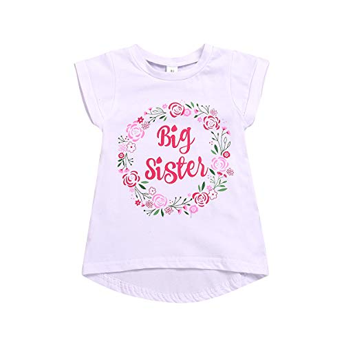 Große Schwester T-Shirt Kleinkind Mädchen Blumen Kurzarm Top Bluse Große Schwester Ankündigung Shirt 1-6J -
