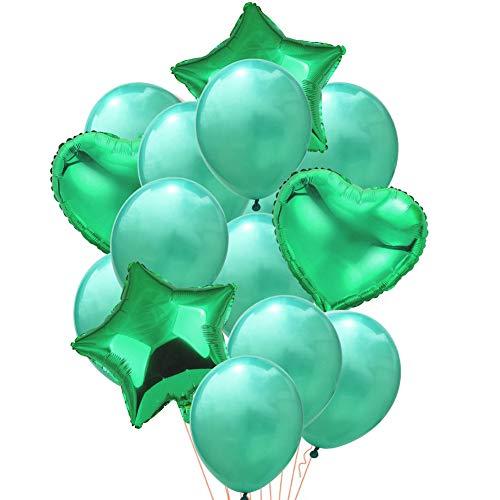 12inches Confeti Globos,Premium Látex Globos de Fiesta Transparente Cinco Estrellas Corazón Papel Oro Globos para decoración de Fiesta de cumpleaños Aniversario-S