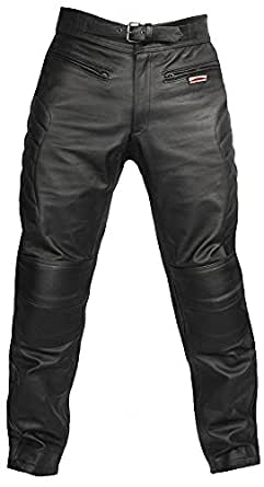 Mens Real Genuine Leather Full Top Grain Cowhide Plain CE Armoured Padded Motorcycle Biker Classic Custom Cruiser Touring Motorbike Trousers Jeans Pants Bike Jacket in Black by Skintan Brand New Size Waist 30 Inside Leg 31