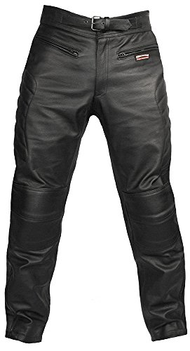 Skintan Herren Echtes Leder Motorradhose mit CE Protektoren Schwarz (W34' / L33', Schwarz)
