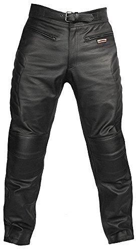 Skintan Herren Echtes Leder Motorradhose mit CE Protektoren Schwarz (W34