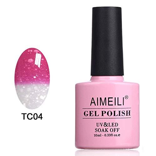 AIMEILI UV LED Nagellack Thermo Gellack ablösbarer Temperatur Farbwechsel Gel Nagellack Gel Polish - Hot Pink to Glitzer White (TC04) 10ml