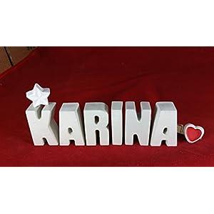 Beton, Steinguss Buchstaben 3 D Deko Namen KARINA als Geschenk verpackt!