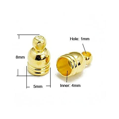 Pack Of 30 x Golden Plated Brass 5 x 8mm Kumihimo Bell-Shape End Caps - (HA03323) - Charming Beads