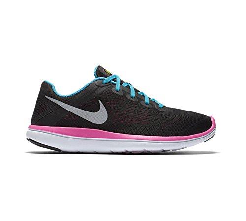 Nike Flex 2016 Rn (Gs), Entraînement de course fille Noir - Negro (Negro (Blck / Mtllc Slvr-Gmm Bl-Pnk Bls))