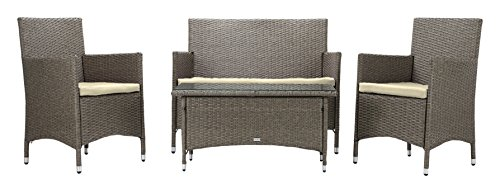 Sitzgruppe Avignon, 4 Teilig Deluxe Polyrattan Gartenmöbel Set, Sofa/Lounge  / Gartengarnitur