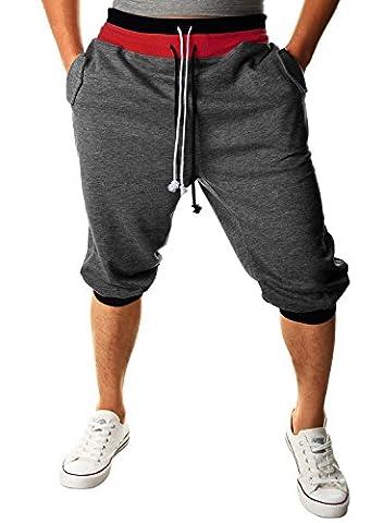 HEMOON Homme Pantalon de jogging/sports Sarouel Short Gris fonce M
