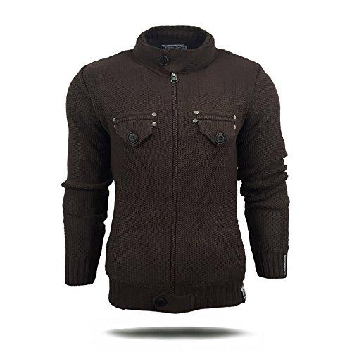R-Neal Herren Pullover Grobstrick Strickjacke Zipper Pulli Sweatshirt Jacke 6777 Anthrazit
