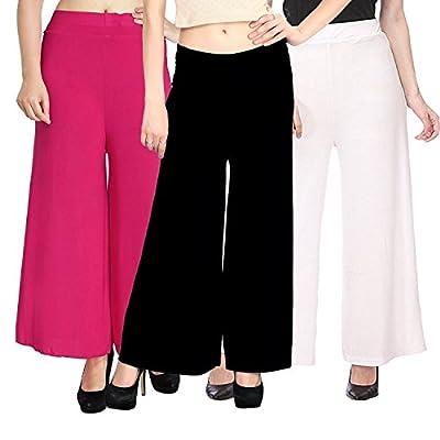 Sri Belha Fashions Stylish Casual Wear Malai Lycra Pant Palazzo Combo (Pack of 3) - Free Size