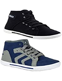 STYLIVO Combo Pack Of Casual Black & Blue Grey Sneaker Shoes For Men
