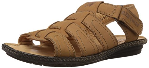 Redchief Men's Brown Leather Sandal and Floaters - 7 UK (RC1655)  available at amazon for Rs.1042