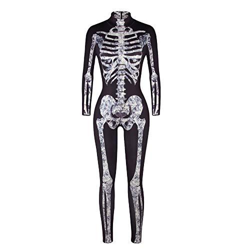 Damen Knochen Skeleton Halloween Kostüm Bodysuit Anzug Karneval Fasching (S, White Bone) ()