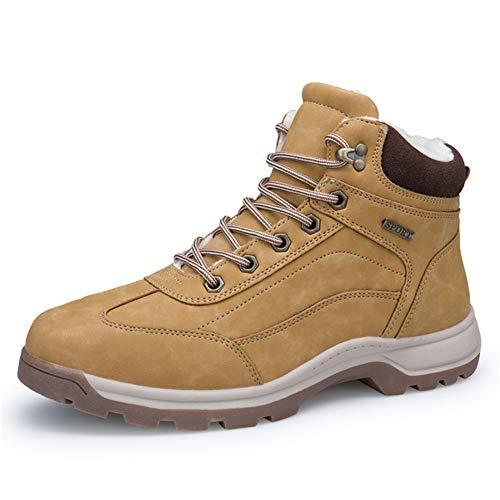 IceUnicorn Herren Winterschuhe Warme Schneestiefel Gefüttert Outdoor rutschfeste Stiefel Arbeitsstiefel Knöchel Stiefel Wasserdicht Wandern Boots(Kamel, 40EU)