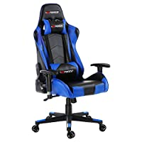 GTFORCE PRO FX Reclining Sports Racing Gaming Office Desk PC CAR Faux Leather Chair (Blue)