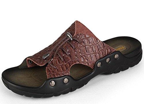 Men's Leather Crocodile Pattern Beach Slippers Dark Brown