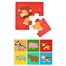RK Cart Wild Animals Simple Puzzles for Kids, 4 Piece Wooden Jigsaw Fun Learning Toys, Set of 6