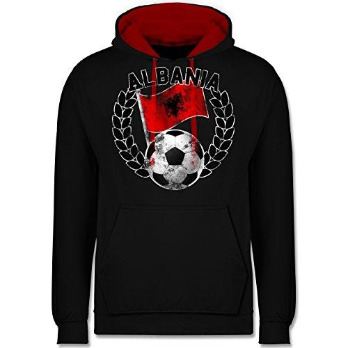 Fußball - Albania Flagge & Fußball Vintage - Kontrast Hoodie Schwarz/Rot