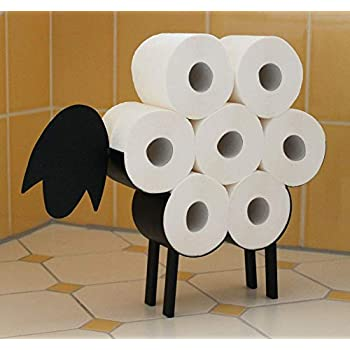 GardenMile/® Black Metal Sheep Wall Mounted Animal Toilet Roll Paper Holder Bathroom Toilet Roll Storage Hold up 7 Rolls Tissue Roll Accessory Roll Holder Wall Mounted Loo Roll Novelty Bathroom Storage