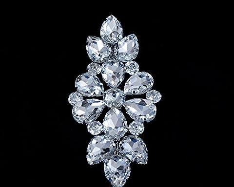 Argent Rhinestone Diamante/Diamant Cristal à coudre Applique Patch pour mariage décontracté formelle Décoration accessoire de mode 110mm x 50mm par Trimming Shop