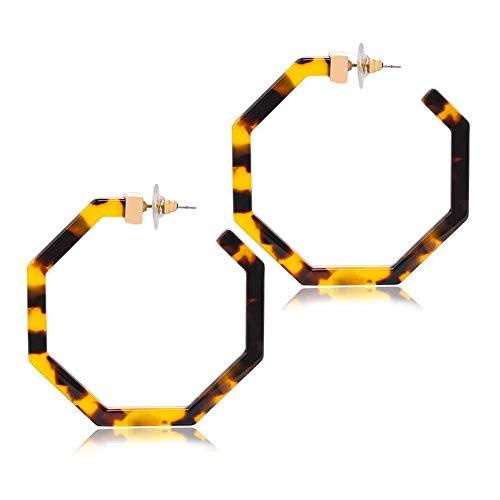 WYFDM Schildpatt Ohrringe, unregelmäßige Geometrie Acetat Platte Ohrringe Acryl für Frauen Geometrie Harz Drop baumeln Ohrringe für Mutter Tag Geschenk,Brown