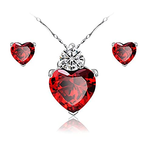 Gilind 925 Sterling Silver Garnet Heart Necklace and Earrings Set for Women + Gift Box