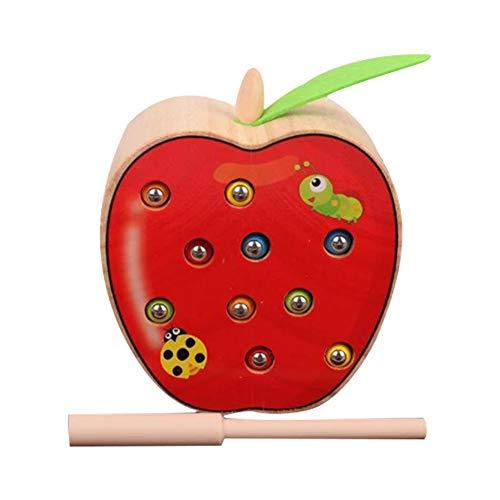 Isuper Holz Magnetisch Spielzeug, Lustiges Magnetspiel Wurm Fangen Spiel Kinder Spielzeug Motorikspiel für Kinder ab 2 Jahre (Apfel) (äpfel Zu äpfel Kinder)