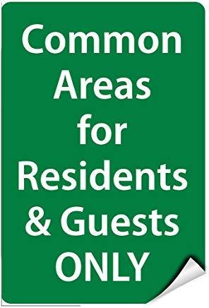 Warnschild mit englischem Text Common Areas for Residents & Guest Only, selbstklebend, Vinyl-Aufkleber, 8 x 12 cm (Common Dem Englischen)