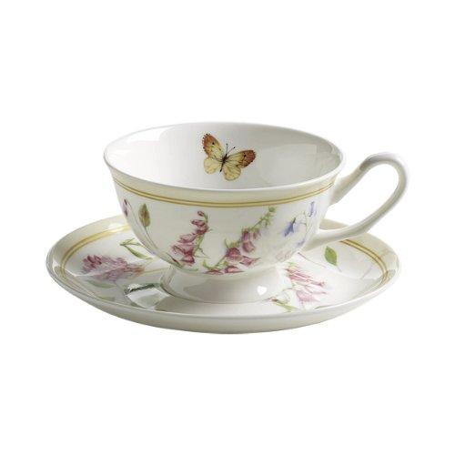 Maxwell & Williams S303105 Butterfly Garden Tasse mit Untertasse. Kaffeetasse, Becher, 180 ml, in Geschenkbox, Porzellan, Crème
