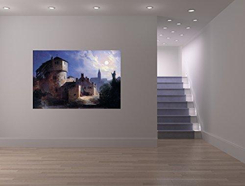 Vlies Fototapete Carl Spitzweg - Alte Meister - Mondschein über dem Dorf - 180x120 cm - inklusive...