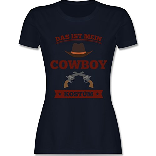 Shirtracer Karneval & Fasching - Das ist Mein Cowboy Kostüm - Damen T-Shirt Rundhals Navy Blau