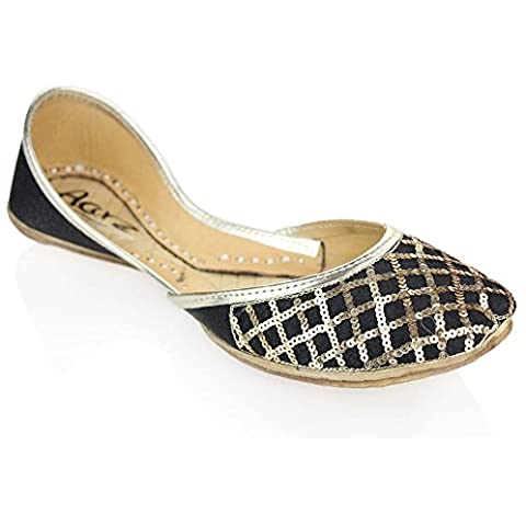 Aarz señoras de las mujeres de cuero hecha a mano tradicional india ocasional plana tamaño del zapato bomba Khussa (Granate, Oro, Negro)