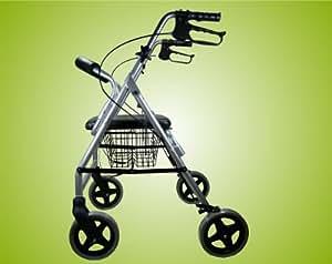 Luxus Rollator Leichtgewicht, Stockhalter, Einkaufskorb und Rückenlehne Farbe Silber - Gehhilfe, Gehwagen Top-Qualität
